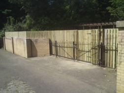 Vertical Panel Fencing with Gate